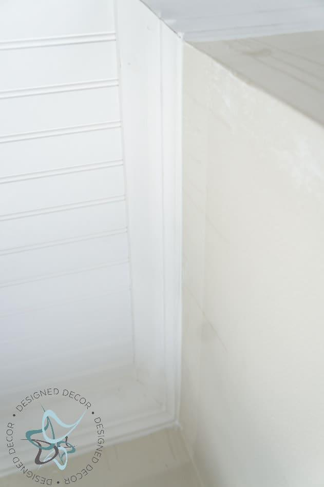 DIY Closet Makeover Beadboard Ceiling Crown Molding 22