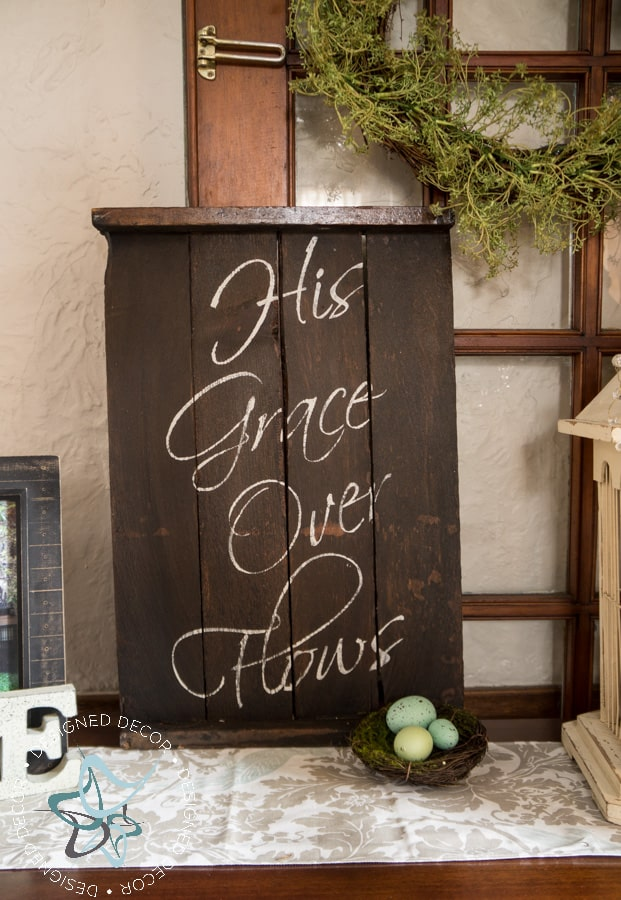 His Grace Over Flows - Repurposed Wood Wall Plaque - wood crate sign