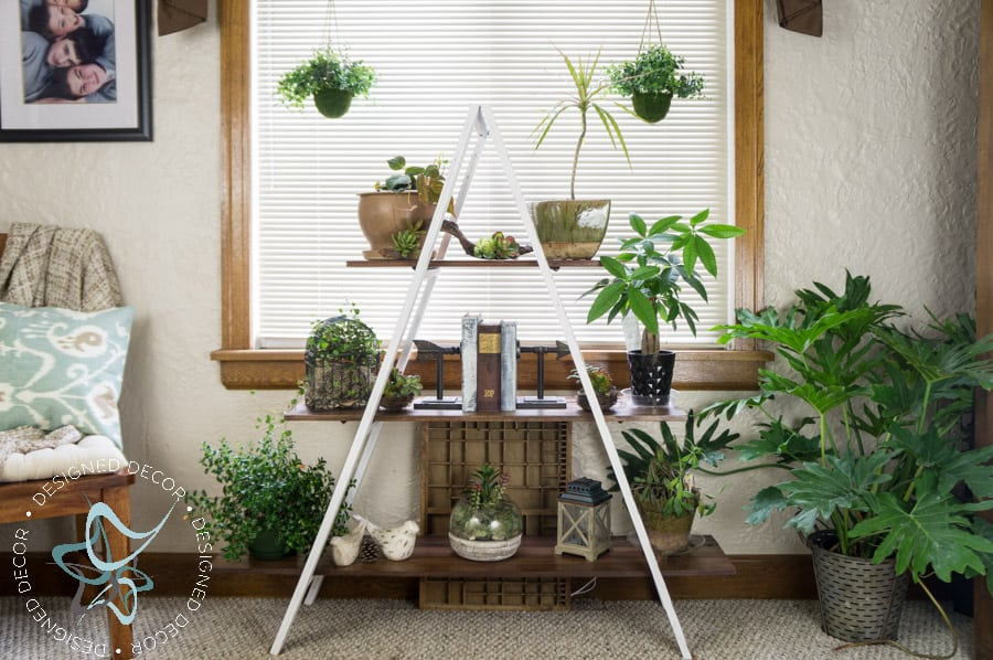 i love walking through this room and seeing my plant stand and knowing i made it myself using repurposed wood my original inspiration for this a frame