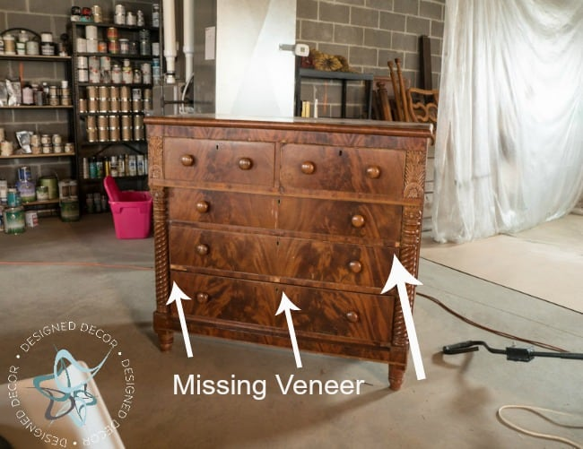 Carved Empire Dresser-Rustic Glam-before