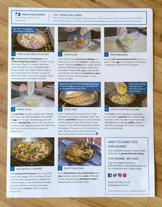 Green Chef Southwestern Sole Recipe Card