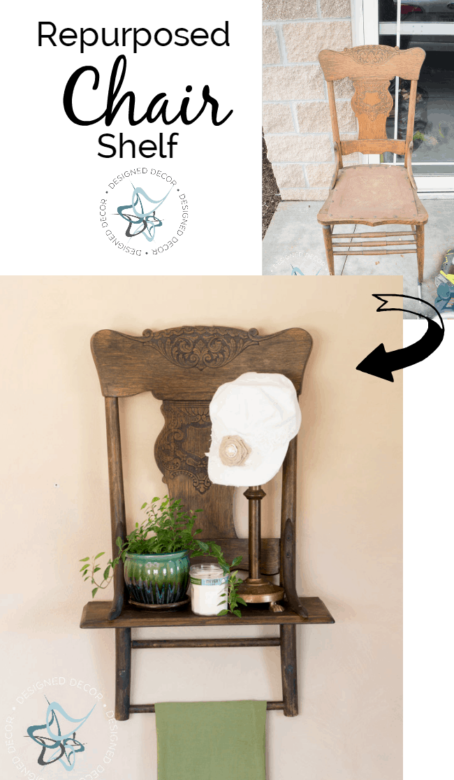 Repurposed Chair Shelf- Designed Decor