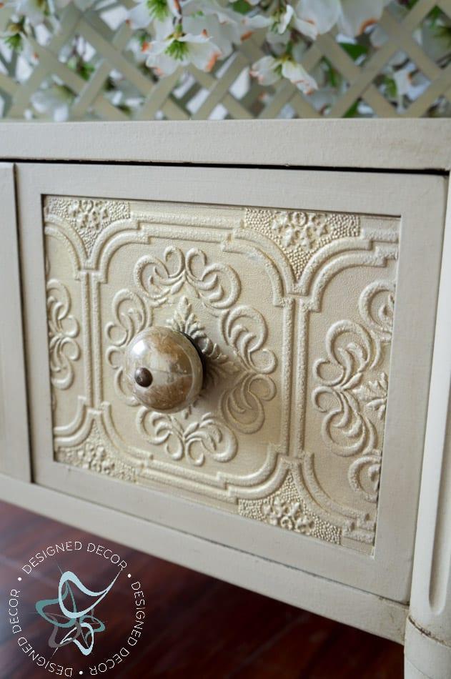 Wallpaper Side Table-decoupage-organza-5