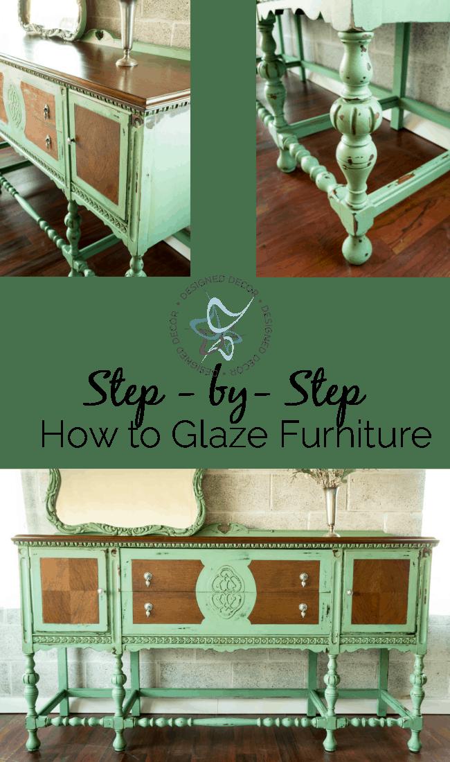 step-bystep-how to glaze furniture