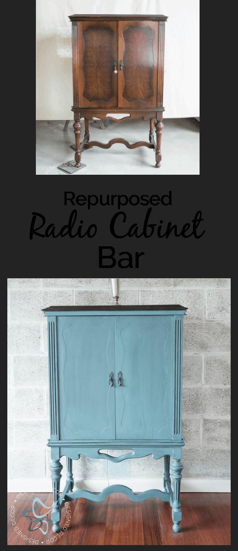 Repurposed Radio Cabinet Bar! ~- Designed Decor