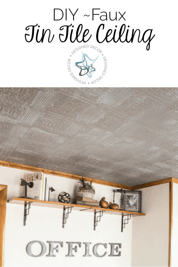 image of a home office with a faux tin tile ceiling.
