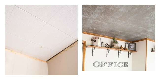 faux tin tile ceiling-before-after