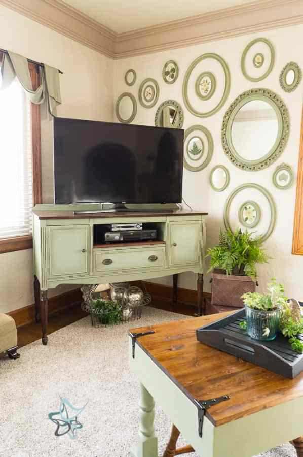 painted furniture Buffet turned into a media center