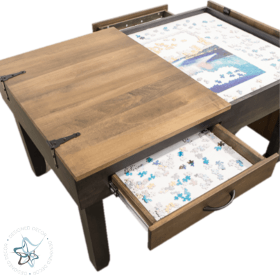 jigsaw puzzle table with split open top and open drawer