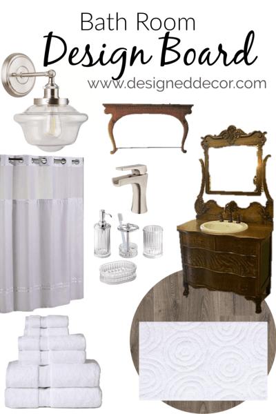 Modern Vintage Bathroom Design Board for the Guest Suite