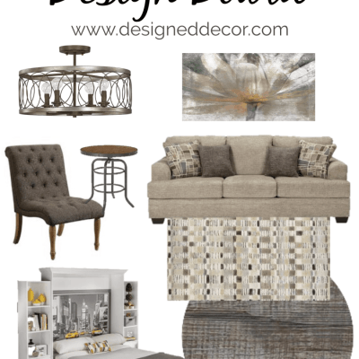 Cozy Modern Living Room Design Board with Vintage Touches