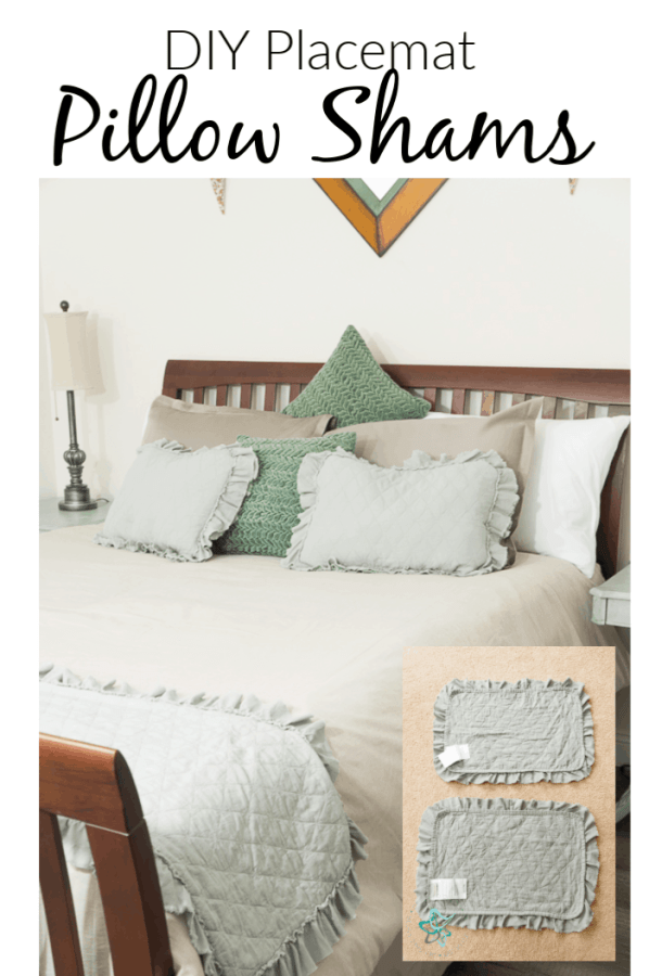 image of a bed with DIY placemat pillow shams
