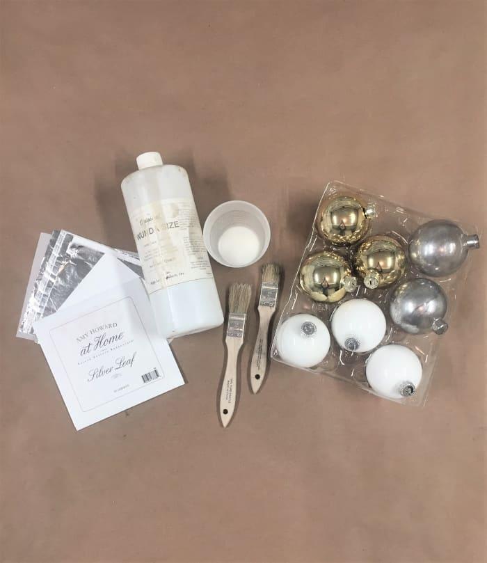 DIY Silver Leaf Ornaments- supply list