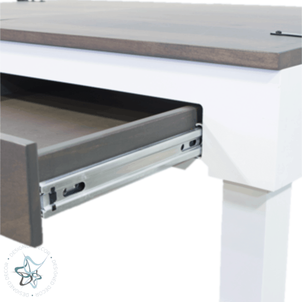 closeup view of open drawer in jigsaw puzzle table