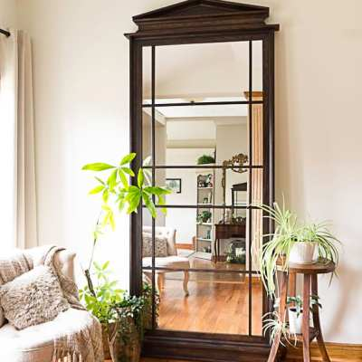 Build a Beautiful leaning floor mirror