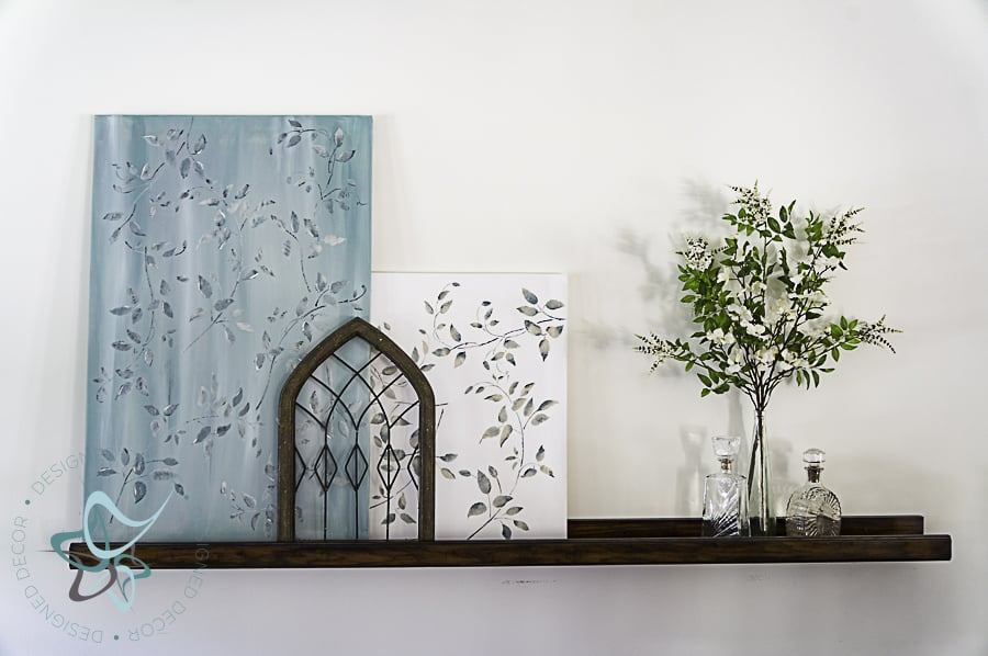 picture ledge with painted art canvas