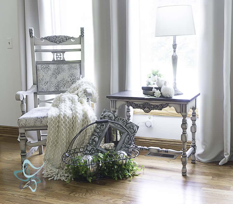 image of antique armchair makeover with decorative accessories