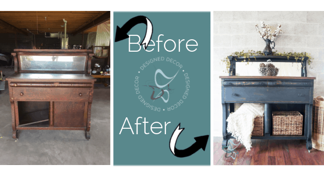 before and after photo of an antique empire buffet
