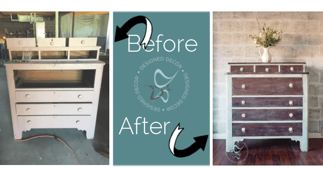 before and after photos of a layered chippy paint finish