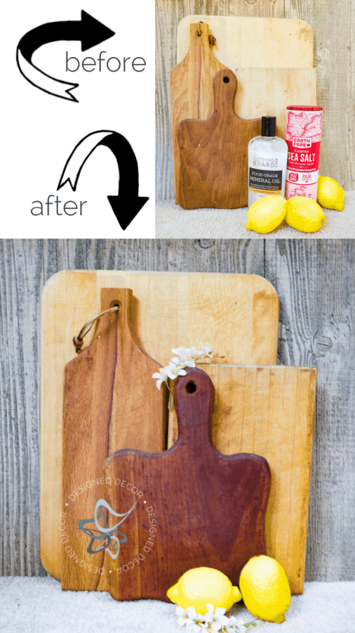 before after photos of clean cutting boards