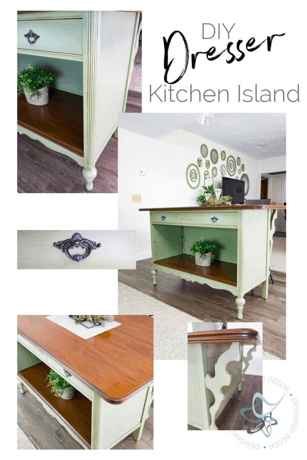 images of an old vintage dresser converted to a kitchen island