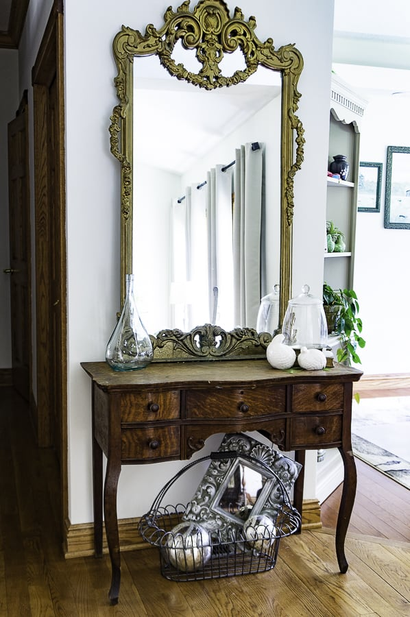 image of an antique oak entryway table
