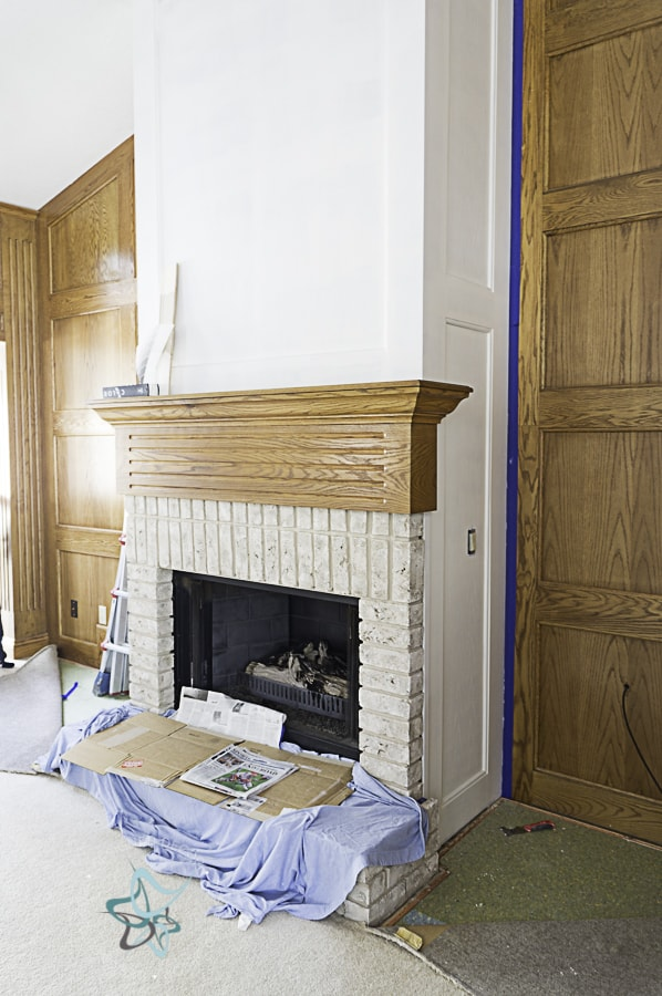 after photo of a fireplace that was painted