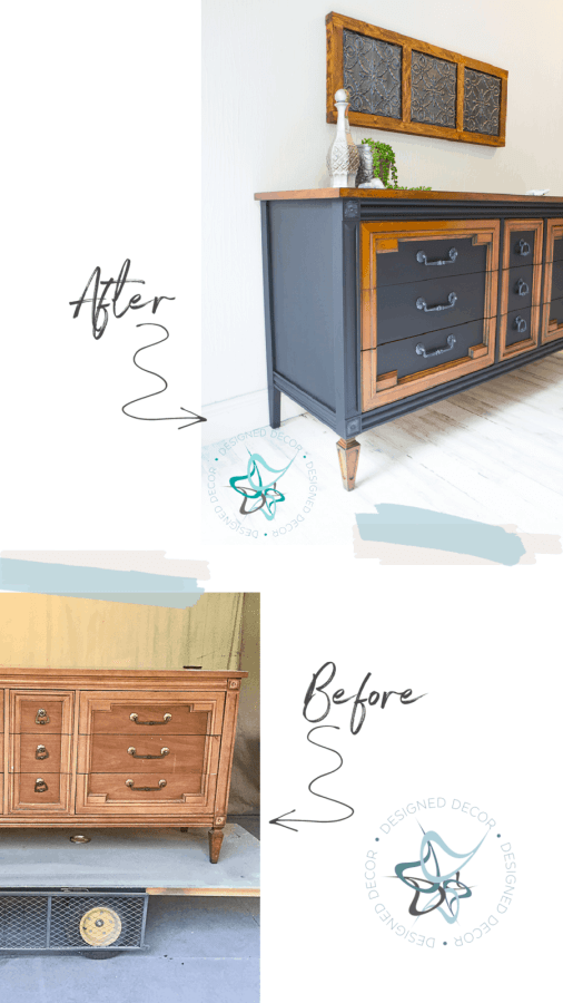 image of a dresser with the before and after using gel stain and black paint.
