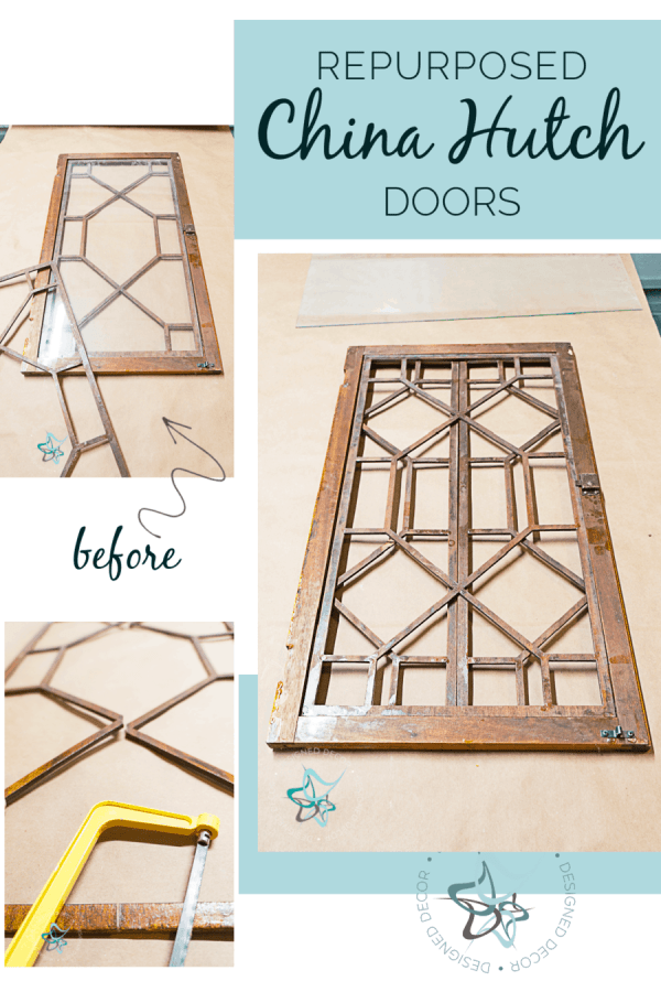 step by step images of repurposed glass china hutch doors