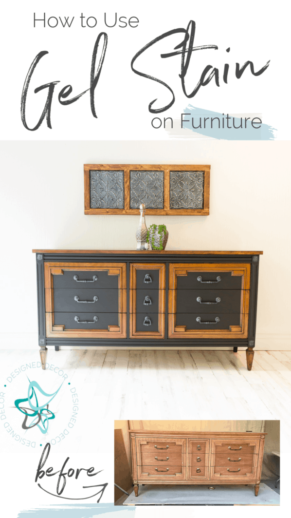 image of a dresser with the before and after. How to use gel stain on furniture