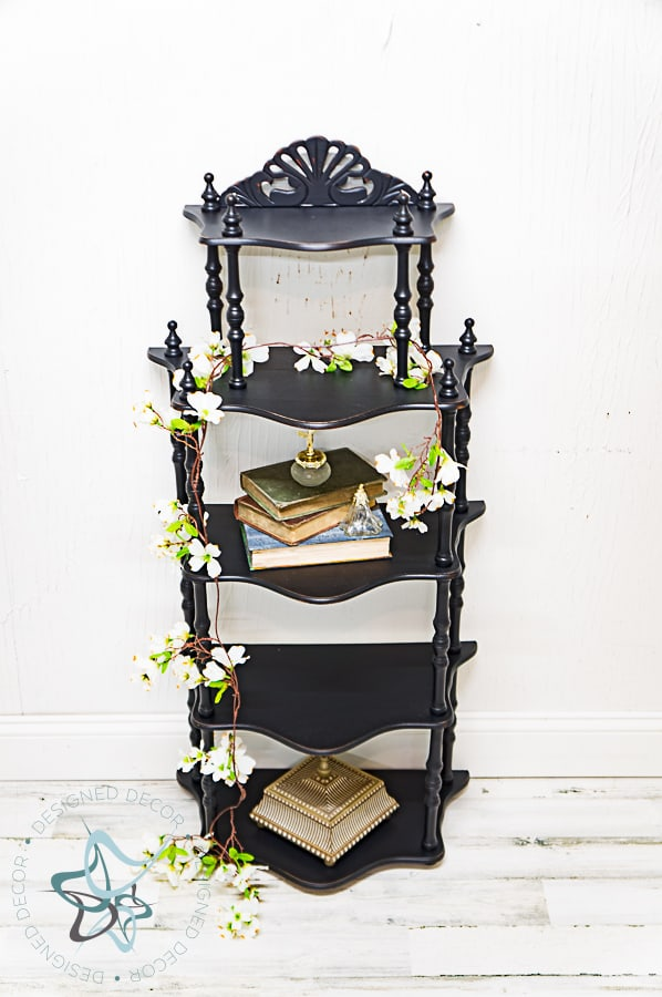 image of a 5 tier spindle shelf painted in black