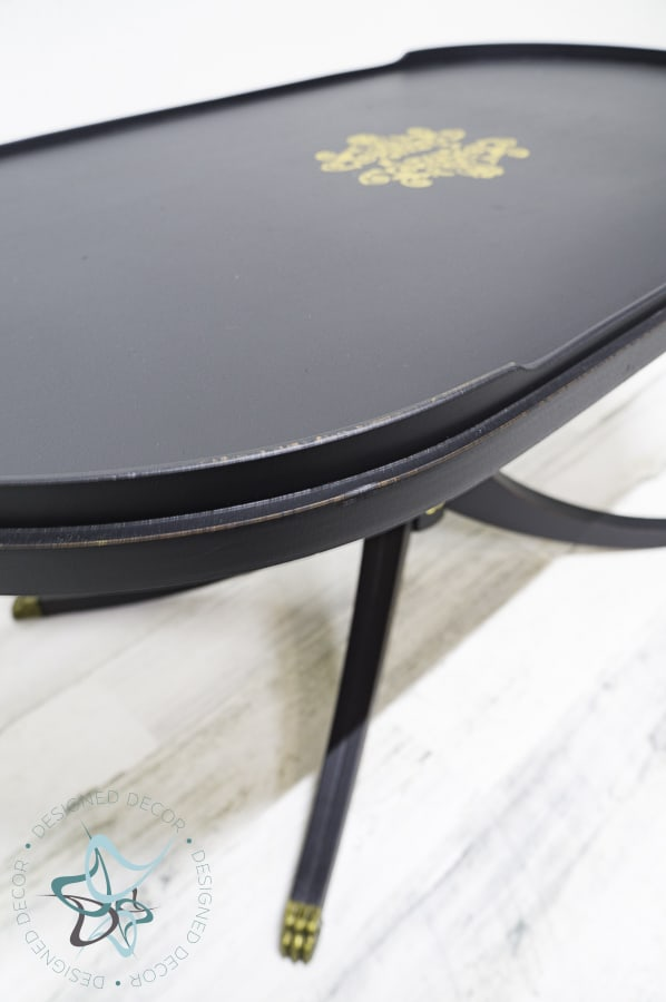 close up image of black painted coffee table
