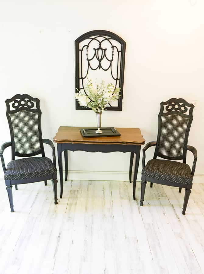 image of a side table and 2 matching chairs painted in black
