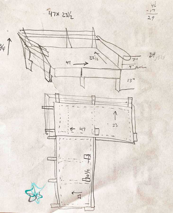 sketch and measurements for sectional sofa