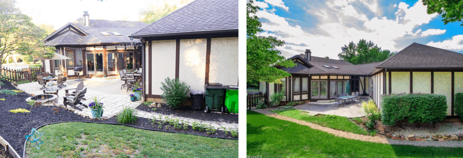 image of the before and after DIY patio extension using patio pavers