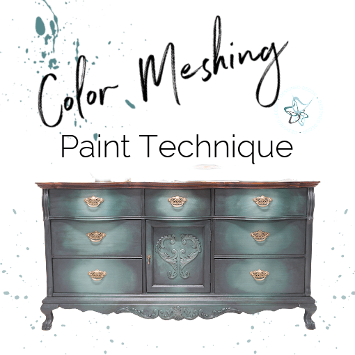 graphic of a dresser with color meshing paint technique