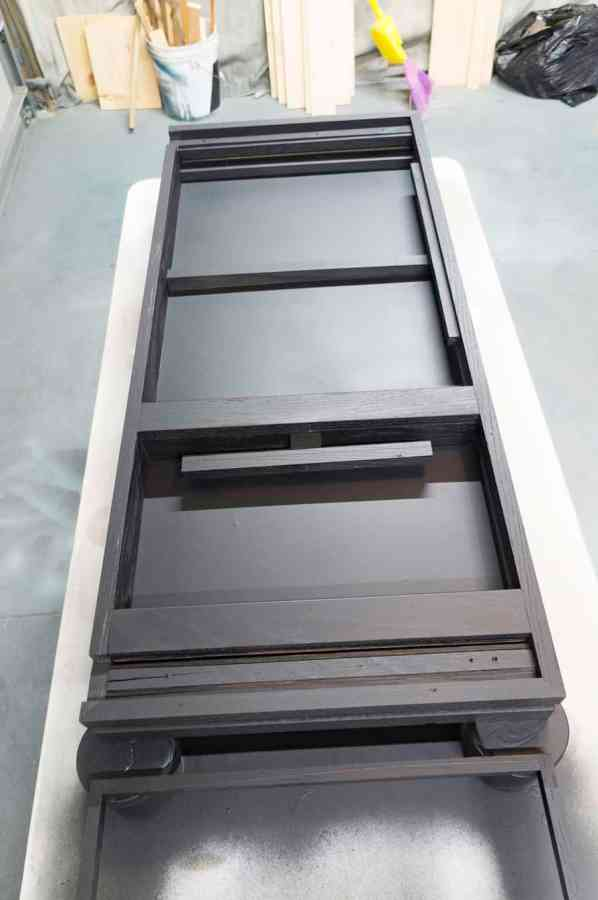 black painted jewelry storage cabinet frame