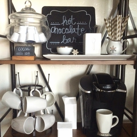 Hot Chocolate Bar & Dining Shelves {Christmas 2014}