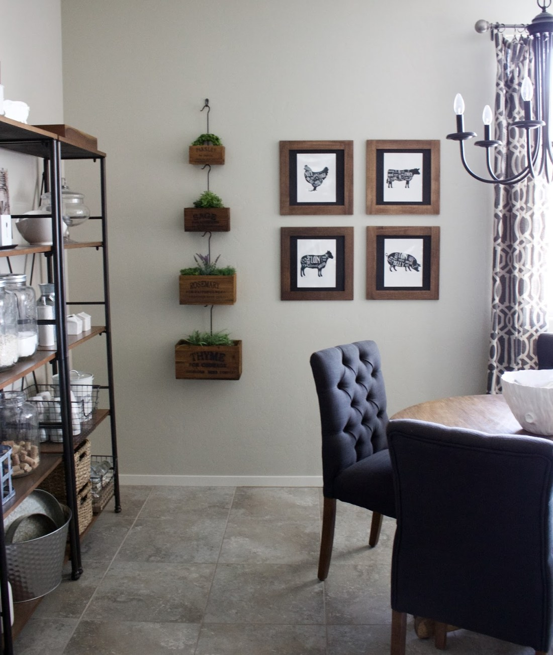 open shelving dining decor