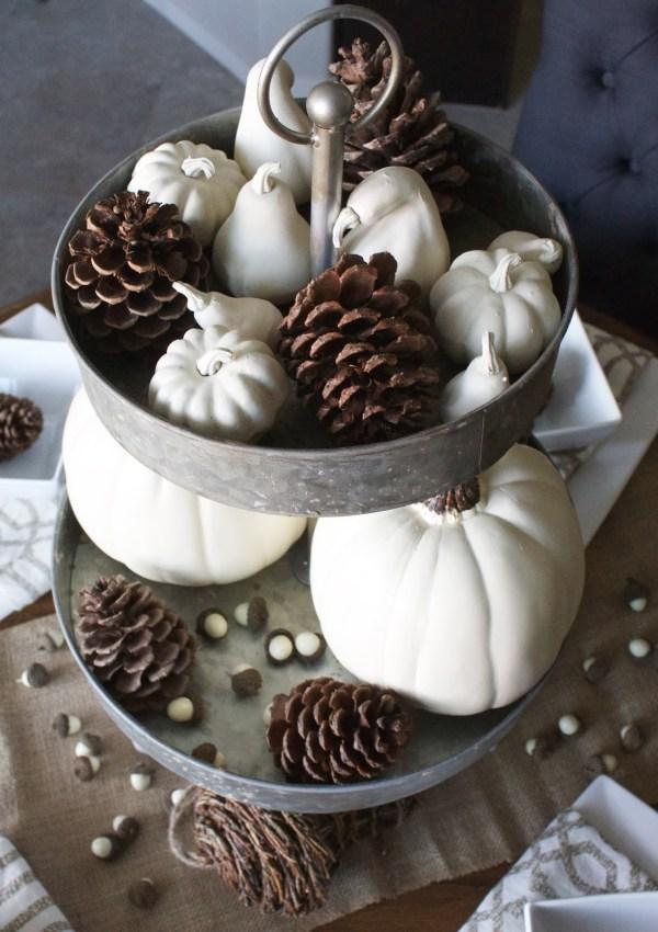 Fall Tablescape – White Pumpkins, Pinecones & Acorns