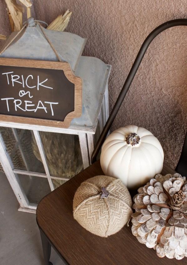 Fall Porch – White Pumpkins & Corn Stalks