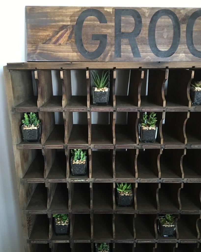 vintage mail sorter succulents