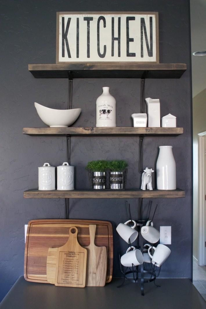 DIY Kitchen Open Shelving - Designed Simple