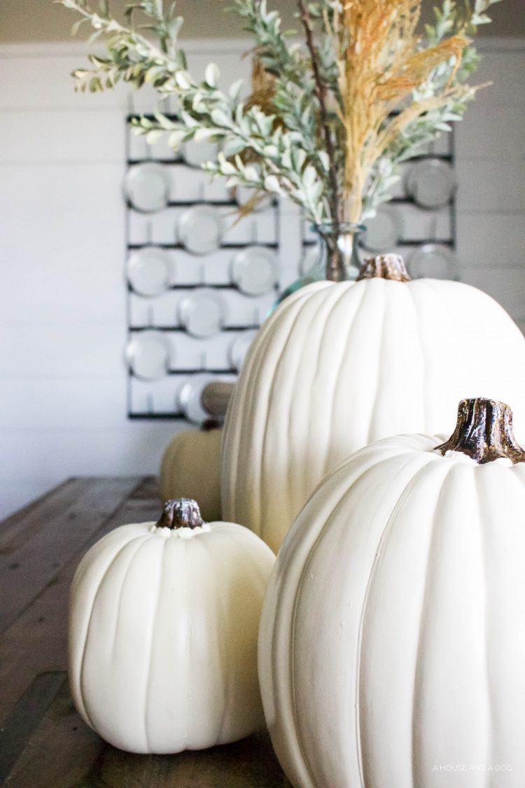 Simple Fall Tablescape - white pumpkins & wheat stems | designedsimple.com