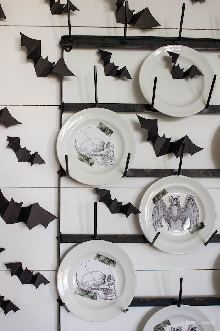Halloween Dining Room & Bat Wall DIY | designedsimple.com