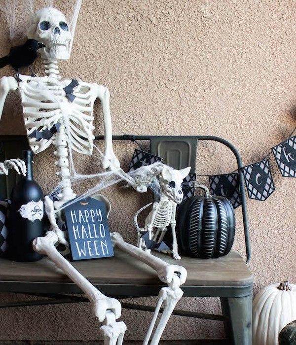 Halloween Porch – Skeletons, Bats, and Spiderwebs