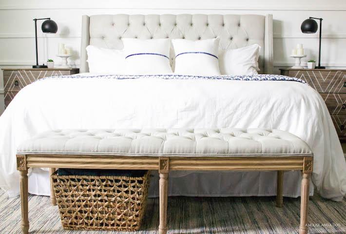 Blue & White Bedroom - DIY Horizontal Board & Batten Wall, DIY Painted Headboard & Bench, DIY Ikea Tarva Hack | One Room Challenge | designedsimple.com