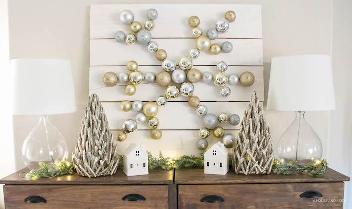 DIY Snowflake Ornament Display with The Home Depot | Christmas DIY | designedsimple.com