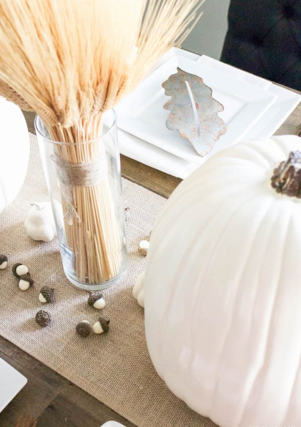 Neutral Gold & White Thanksgiving Table