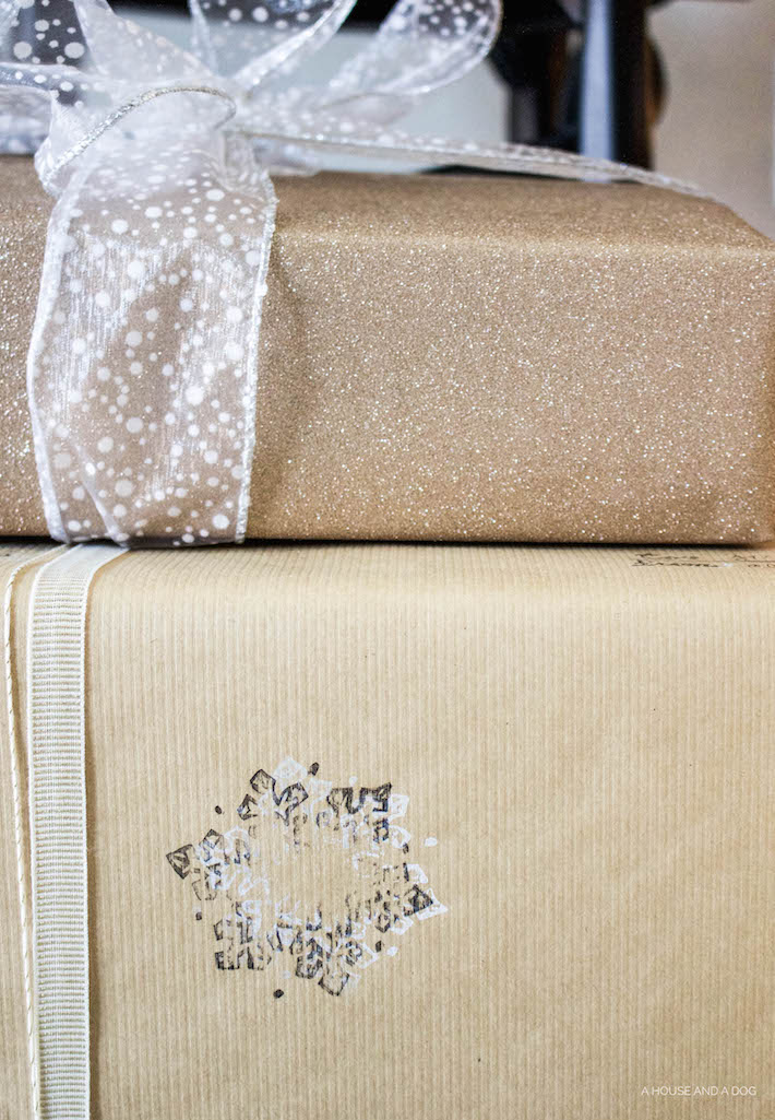 DIY Wrapping Paper - Christmas Tutorial with Stamps   designedsimple.com